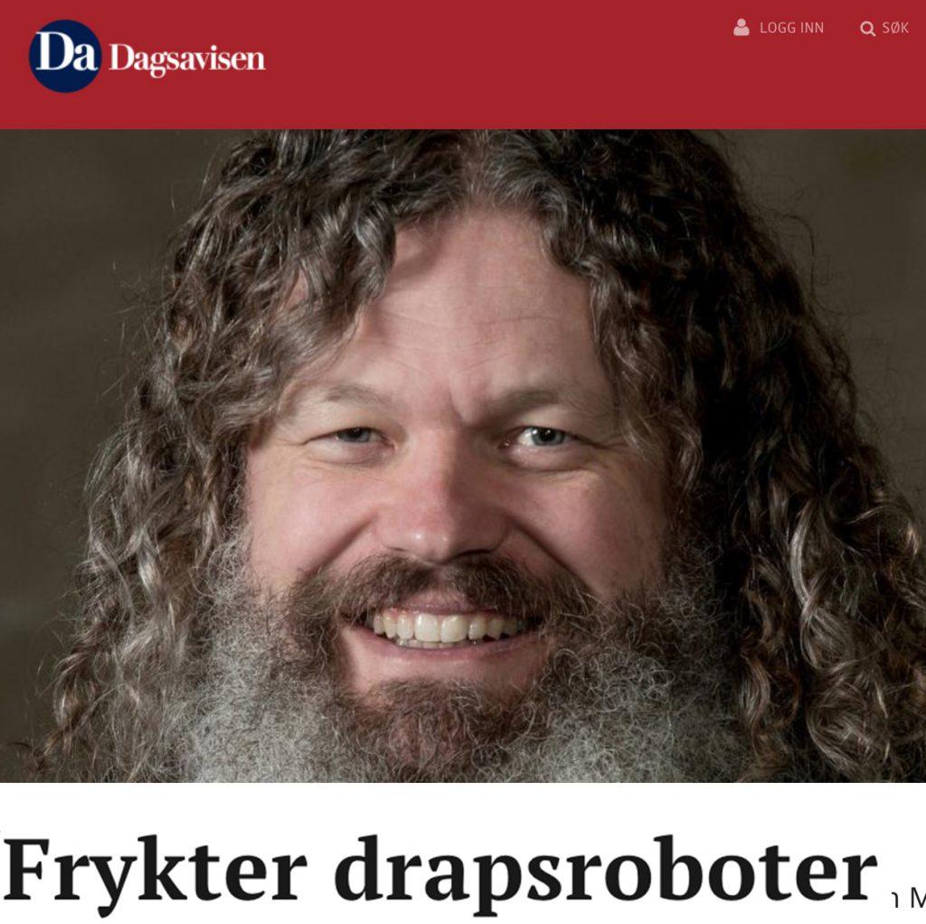 """Artikkel """"Frykter drapsroboter"""""""