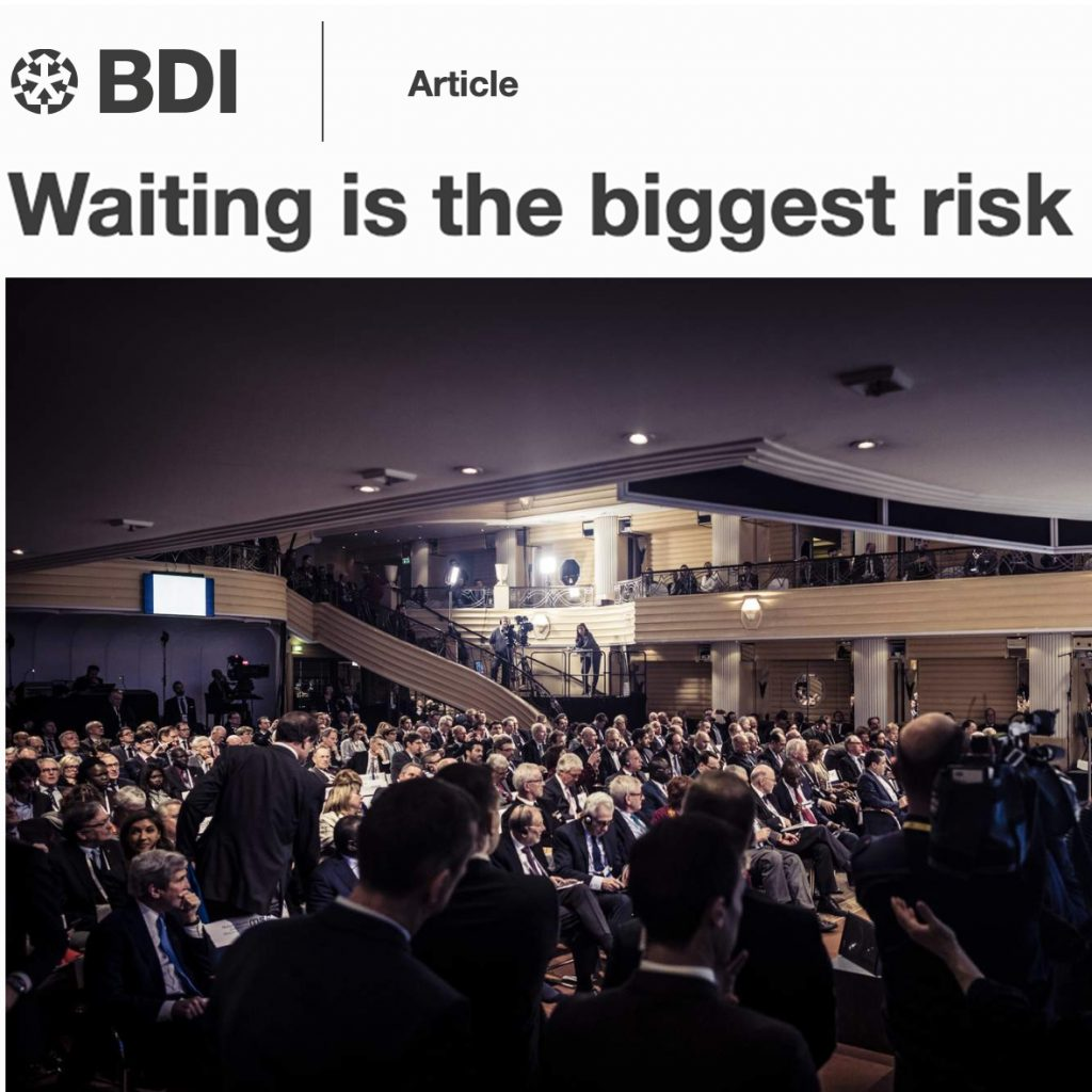 "Artikkel ""Waiting is the biggest risk"""