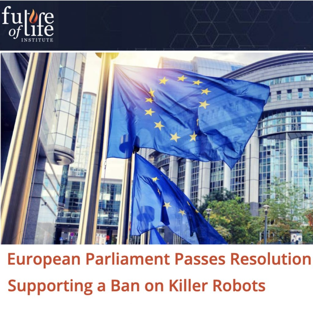 "Artikkel ""Eropean parliment passes resolution supporting a ban on killer robots"""