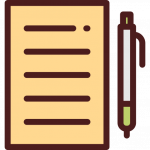 Icon of paper and pen.